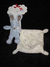 Doudou Lapin bleu et marron carré blanc écru Name My Friend Nicotoy Simba Toys