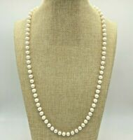 14K Yellow Gold Mid Century Akoya Saltwater Pearl Necklace Japanese 6.50-7mm