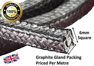 """GLAND PACKING ROPE/SHAFT SEAL - 6MM (1/4"""") SQ. SOLD PER METRE"""