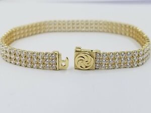 Three Row Tennis  Bracelet Real 10k Yellow Gold Finish Women