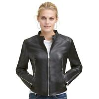 Leather Jacket Women Black Biker Moto Lambskin Size S M L XL XXL 3XL Custom Made