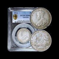 1914 Australia Florin (Silver) - PCGS XF40 - Semi-Key Date