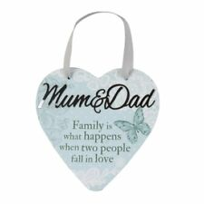 "Delicate Words Heart Hanger ""Mum and Dad"""
