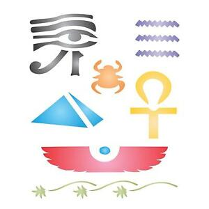 Egyptian Stencil Reusable Ancient Egypt Hieroglyphs Pharaoh Template Wall