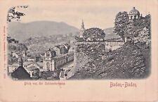 SELTEN Foto AK Prägekarte ca1905@Baden-Baden Blick v. Schlossterrasse@Doppellage