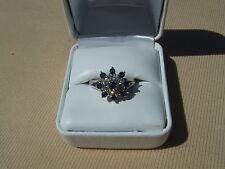 estate.75CTW diamond & blue  sapphire cocktail ring in 14k white gold sz 8.25