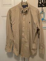 Ralph Lauren Blake Men's Tan Khaki Button-Down Long Sleeve Shirt Size Medium