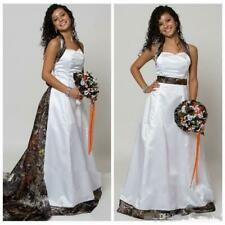 Camo A-Line Halter Wedding Dress Sleeveless Detachable Chapel Train Bridal Gown