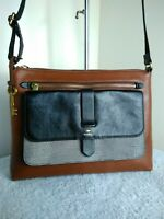 Fossil 1954 Cow Hide Leather Brown Black Bag Shoulder Cross Body Handbag N27
