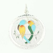 Colorful Love Birds Charm - Sterling Silver 925 Pendant