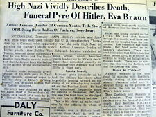 <1947 newspaper EYEWITNESS ACCOUNT of DEATH Burning of ADOLF HITLER EVA BRAUN
