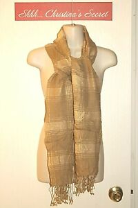 FAWN Womens Scarf Shawl Light Brown Gold Plaids Soft Fringes Large VG+