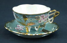 Del Coronado Nasco Cup and Saucer Footed Lusterware Pierced Ornate Green Gold