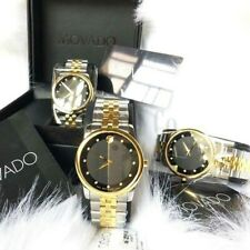MOVADO 0606879 Black Dial Silver/Gold Men's Diamond Museum Classic Swiss Watch