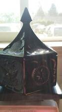 Tiara Indiana Glass Opaque Black Candy Dish Lid Hexagon Trinket Box Eagle Star