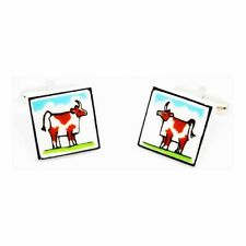 Brown Cow Cufflinks by Sonia Spencer, gift boxed. Hand painted, RRP £20!
