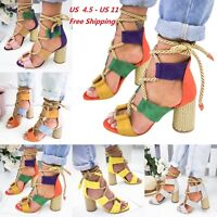 Womens Ladies Block High Heels Ankle Strapped Sandals Lace Up Shoes US Size