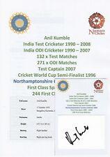 Anil Kumble India Test Cricketer 1990-2008 Original Autograph