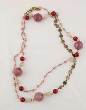 Vintage garnet rose quartz faceted beads long copper boho necklace by Wendi Mink