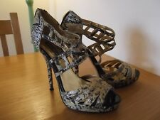 BLACK GARDENIA Shoes Black & Gold Snake Print Stiletto Heels Cage Look UK Size 6