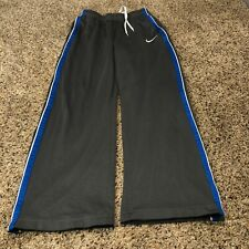 "Nike boys gray sweatpants large blue stripe mesh lined 24""x20"""