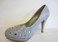 Anne Michelle Ladies Silver Diamante Court Shoes F9R804 Sizes UK 4-6 (R42B) J&K