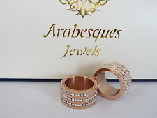 GENUINE ARABESQUES CRYSTAL BARREL RING. 9ct ROSE GOLD PLATED. STERLINA MI MILANO