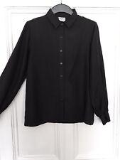 Vintage Retro Black Pure Silk Shirt S M 8 10 12 Grunge Goth 90s Festival Summer