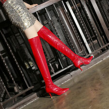 Women's Patent Leather Zip Pointed Toe Over Knee Boots Party Shoes UK Size 1-10