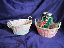 Small Mini Oval Baskets w/ Double Handle PINK Wicker Crafts Home Decor Dolls