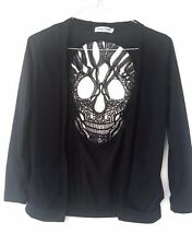 Ealey Crochet Lace Black Top Blouse Cardigan Skull Size M Grunge Festival Goth