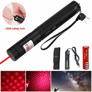 303 Focus Red Laser Pointer Pen Light Beam Grade Bright 1mW Lazer Key 18650 Kit