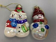 Blown Glass Snowman Christmas Ornament Lot of 2 Regent Products Collectible