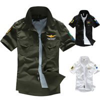 NEW Men's Air Force Military Casual Shirt Short Sleeve Army Shirts Dress Jacket