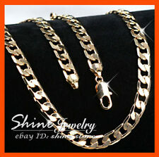 18K GOLD FILLED 60CM DIAMOND CUT CUBAN CURB RING CHAIN WOMEN MENS SOLID NECKLACE
