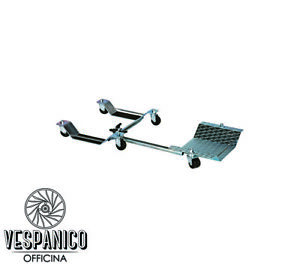 Carrello accosta moto per Vespa e Lambretta + accessorio solleva ruota