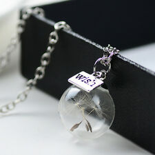 Lady Real Dandelion Seeds Lucky Glass Wishing Bottle Crystal Ball Charm Necklace