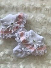 White Frill Baby Socks with Pink Ribbon Guipure Organza Flower Trim size Newborn