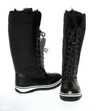 New Women's Knee High Boot Black Shoes Fur Lined Winter Snow Ladies size 9