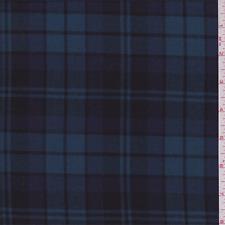 Navy/Cadet Plaid Shirting, Fabric Sold By The Yard