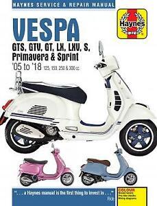 Haynes Manual 4898 Vespa GTS/GTV/GT/LX/LXV/S, Primavera & Sprint 05-18