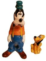 "VINTAGE Walt Disney 6"" GOOFY and 2 3/4""  PLUTO Ceramic Porcelain Figurines Japan"