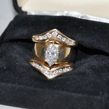 1ct marquis diamond ring in 14k yellow gold with eighteen round diamonds, I-K, V