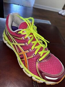 ASICS Gel Kayano 19 Running Shoes Raspberry/Mango/Lime Women's Size 8