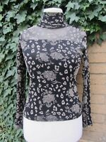 Vintage ladies Black And Beige Floral Pattern High/Polo Necked Top Size Medium