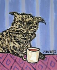 affenpinscher dog beer 11x14 art Print reproduction of painting