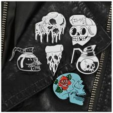 Enamel Pin Badges - Set of 6 - Skulls Collection Pizza Coffee Rose - EB0016