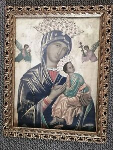 Vintage religious print and Frame