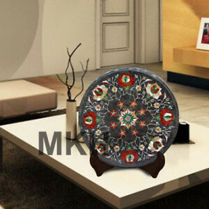 Coffee Table Top Marble Side Table Inlay Gems Stones Marquetry Vintage India Art