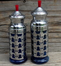 Vintage Cobalt Blue Glass Lattice metal Salt & Pepper Bakelite Stems Japan Made